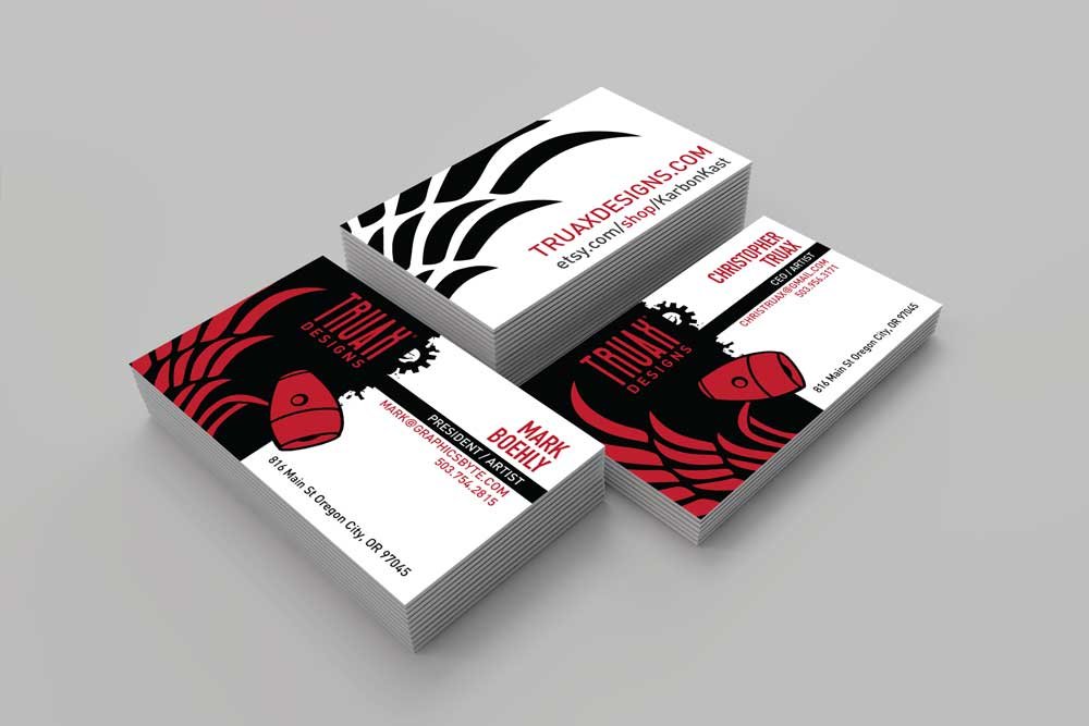 Black Truax Designs Buesiness Cards designed by Graphicsbyte Creative