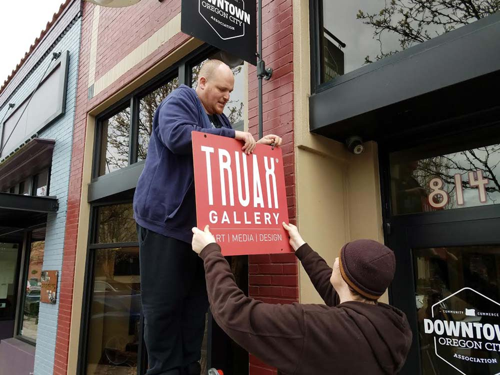Truax Gallery Sign Hanging