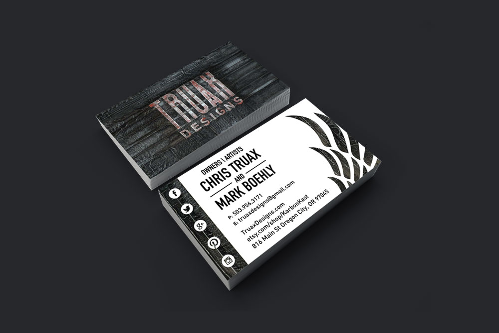Sticker Truax Designs Buesiness Cards designed by Graphicsbyte Creative