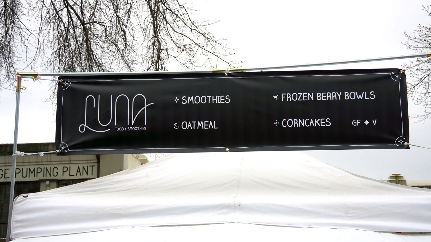 Luna Food & Smoothies at the Portland Saturday Market Branding by Graphicsbyte aka Mark Boehly