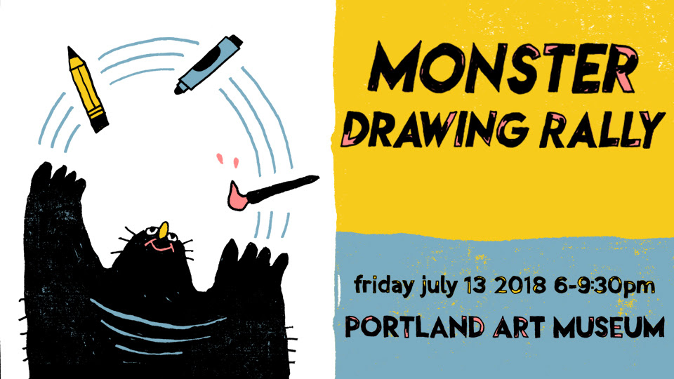 Portland Art Museum Monster Drawing Ralley 2018