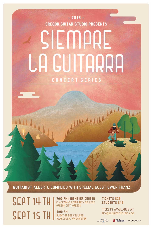Siempre La Guitarra Event Poster by Graphicsbyte