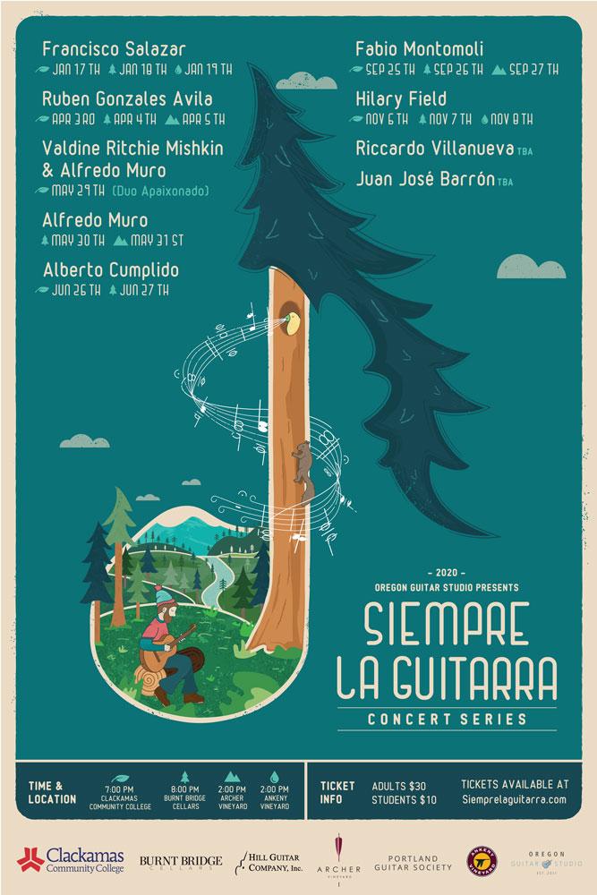 2020 Siempre La Guitrarra Tour Poster designed by Mark Sheldon Boehly - Graphcisbyte Creative