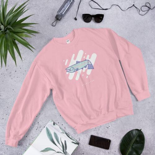 Steelhead pink womans sweatshirt by Mark Sheldon Boehly - Graphicsbyte Creative