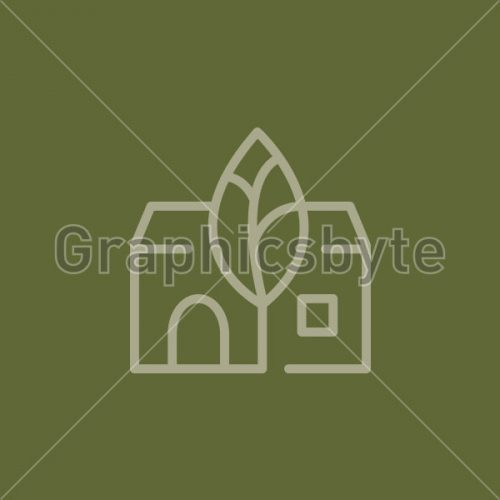 Green Tree House Logo by Graphicsbyte