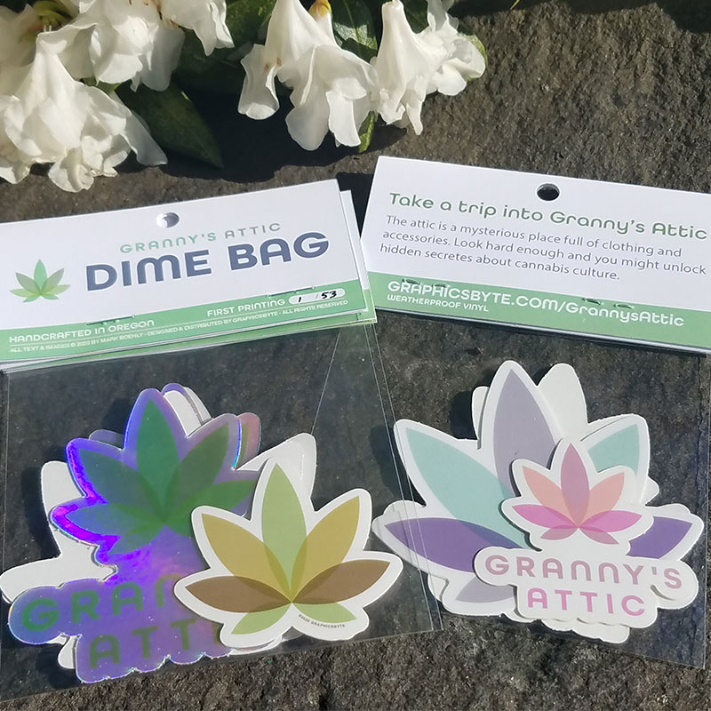 Granny's Attic Dime Bag Stickers by Graphicsbyte an Mark Boehly