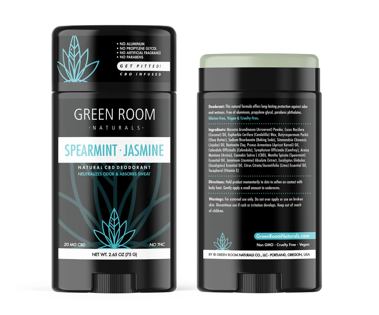 Spearmint-Jasmine Deodorant by Green Room Naturals designed by Mark Boehly-Graphicsbyte Creative
