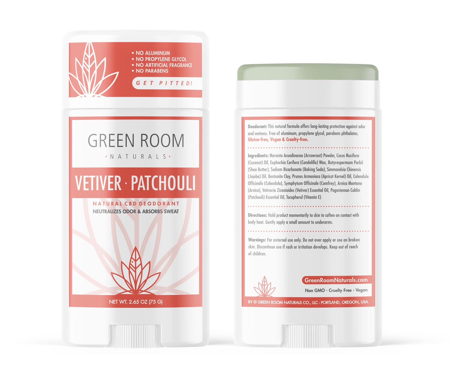 Vetiver-Patchouli Deodorant by Green Room Naturals designed by Mark Boehly-Graphicsbyte Creative