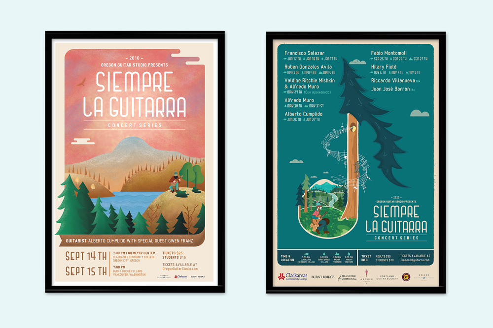 Siempre La Guitarra 2018 and 2020 concert poster designed by Graphicsbyte Creative and Mark Sheldon Boehly