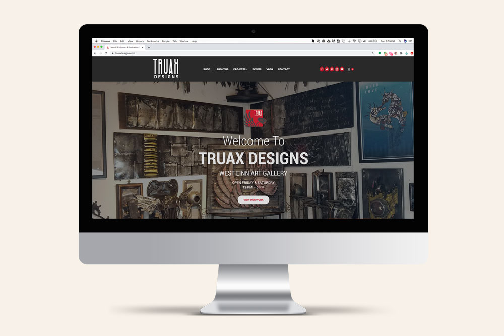 Truax Designs website design by Graphicsbyte Creative