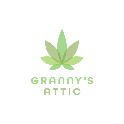 Granny's Attic cannabis logo designed by Mark Sheldon Boehly - Graphicsbyte Creative