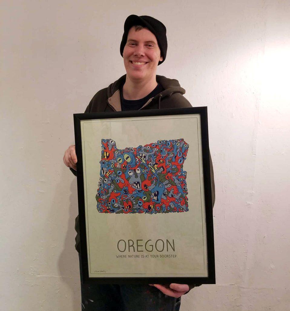 Mark Sheldon Boehly holding Oregon Slugs Poster - Graphicsbyte Creative