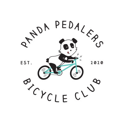 Panda Pedalers Bicycle Club Panda Logo on Bike designed by Mark Sheldon Boehly - Graphicsbyte Creative