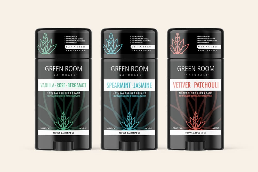 Green Room Naturals CBD deodorant Designed by Mark Boehly - Graphicsbyte Creative