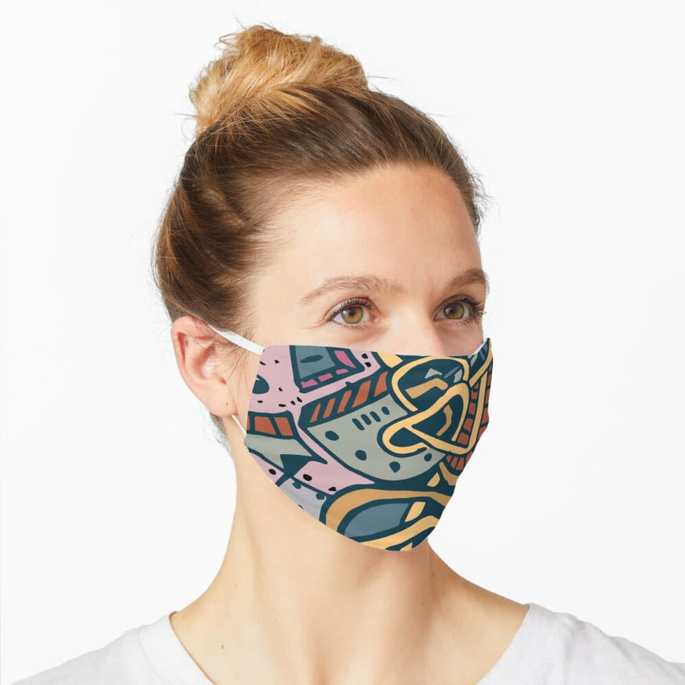 Covid-19 Mask - Abstract Face designed by Graphicsbyte Creative - Mark Sheldon Boehly