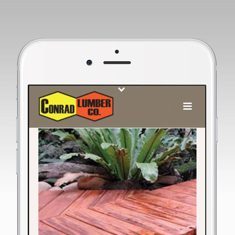 Conrad Lumber responsive mobile design by Graphicsbyte Creative