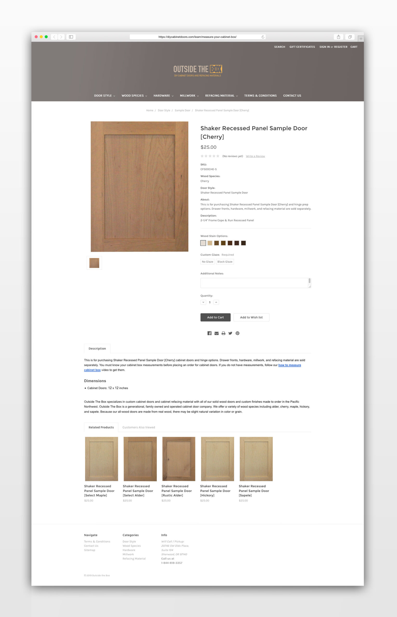 Outside The Box - DIY Cabinet Doors Sample Door Order - Web Design by Graphicsbyte Creative