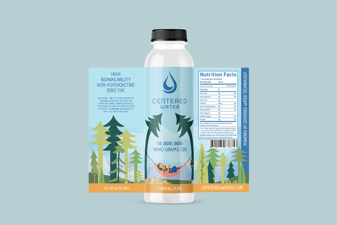 CBD Cantaloupe Flavor by Centered Water - label design by Mark Sheldon Boehly - Graphicsbyte Creative