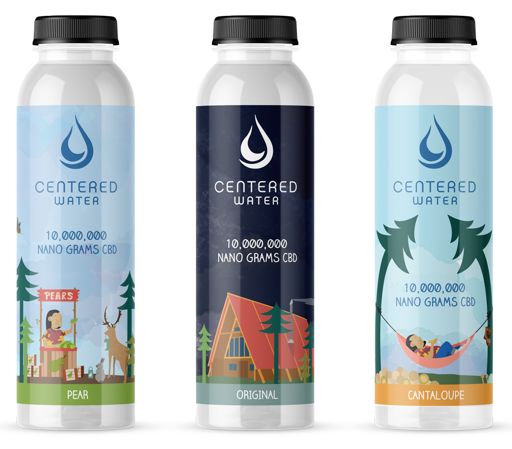 Centered Water CBD Labels designed by Graphicsbyte - Mark Sheldon Boehly
