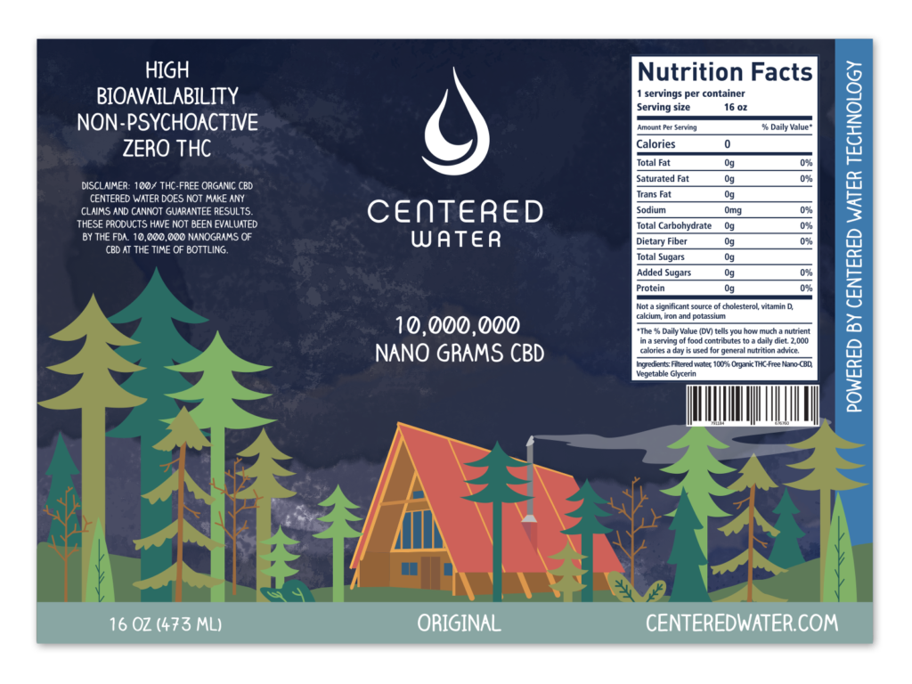 CBD Original Flavor by Centered Water - label design by Mark Sheldon Boehly - Graphicsbyte Creative