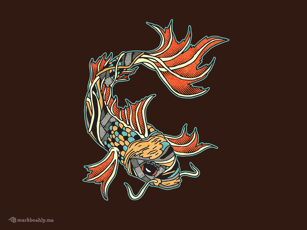 Biomechanical Koi - Creature Collection - Illustrated by Mark Sheldon Boehly - Graphicsbyte Creative