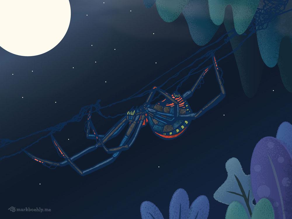 Arachnitronix Garden Weaver Spider - Creature Collection - Illustrated by Mark Sheldon Boehly - Graphicsbyte Creative