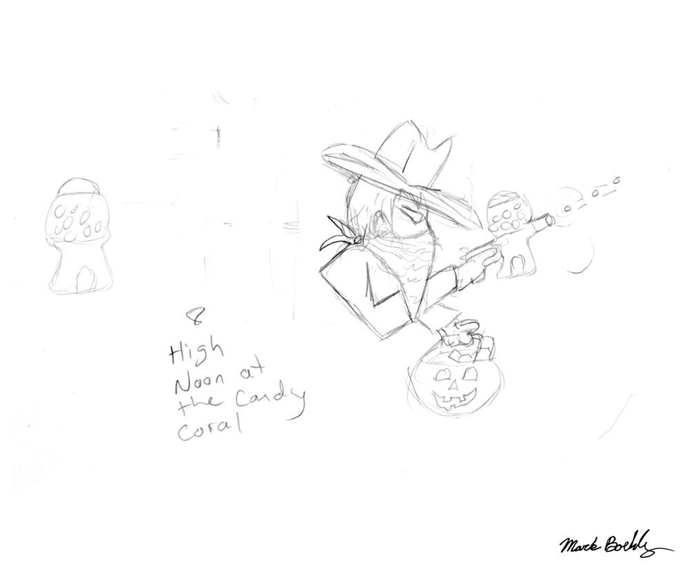 High Noon At Candy Coral - Sketch by Mark Sheldon Boehly - Graphicsbyte Creative