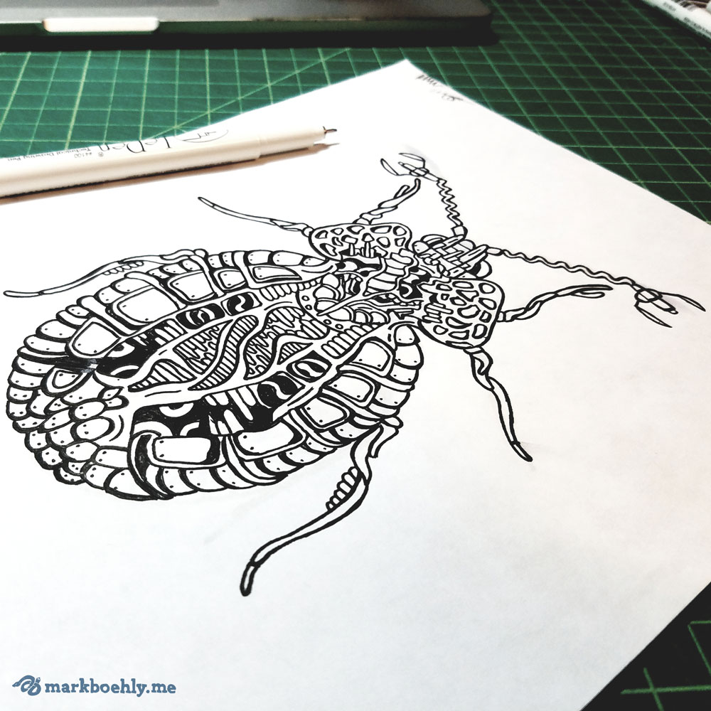 Cereptera Creature Collection Beetle sketch by Mark Sheldon Boehly - Graphicsbyte