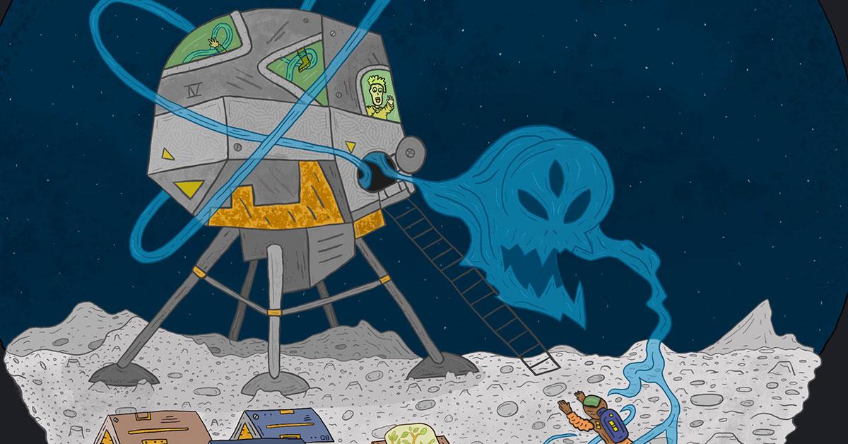 Lunar Base IV Haunting - Drawlloween & Inktober - Halloween Sketch Series by Mark Sheldon Boehly - Graphicsbyte Creative