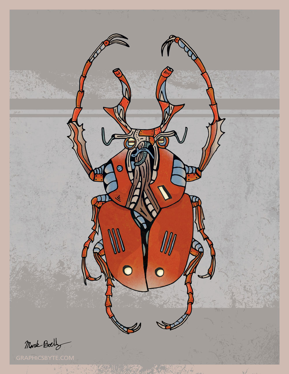 Horned Beetle - Creature Collection - Illustrated by Mark Sheldon Boehly - Graphicsbyte Creative