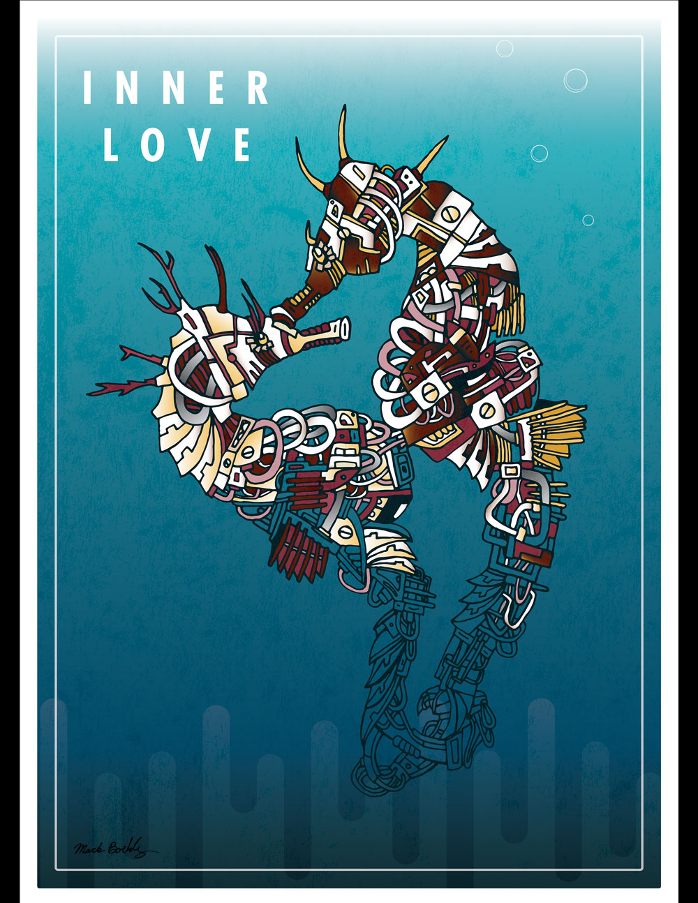 Inner Love Seahorse - Creature Collection - Illustrated by Mark Sheldon Boehly - Graphicsbyte Creative