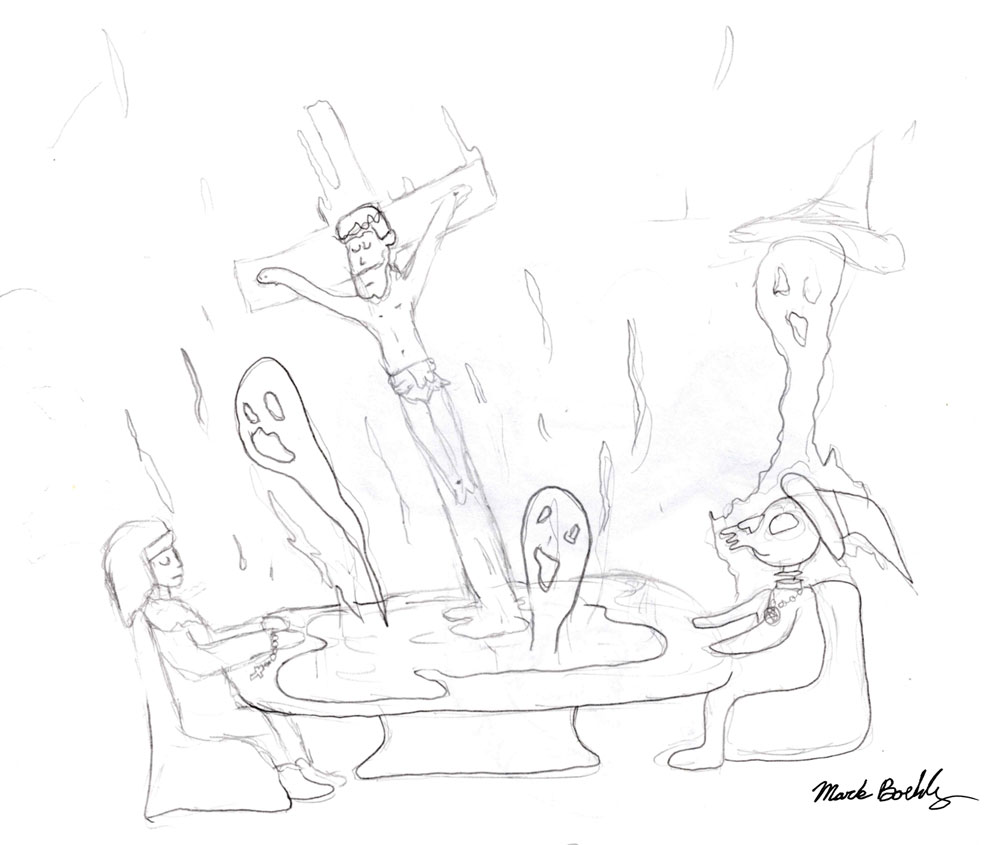90 day seance with Jesus - Sketch by Mark Sheldon Boehly - Graphicsbyte Creative