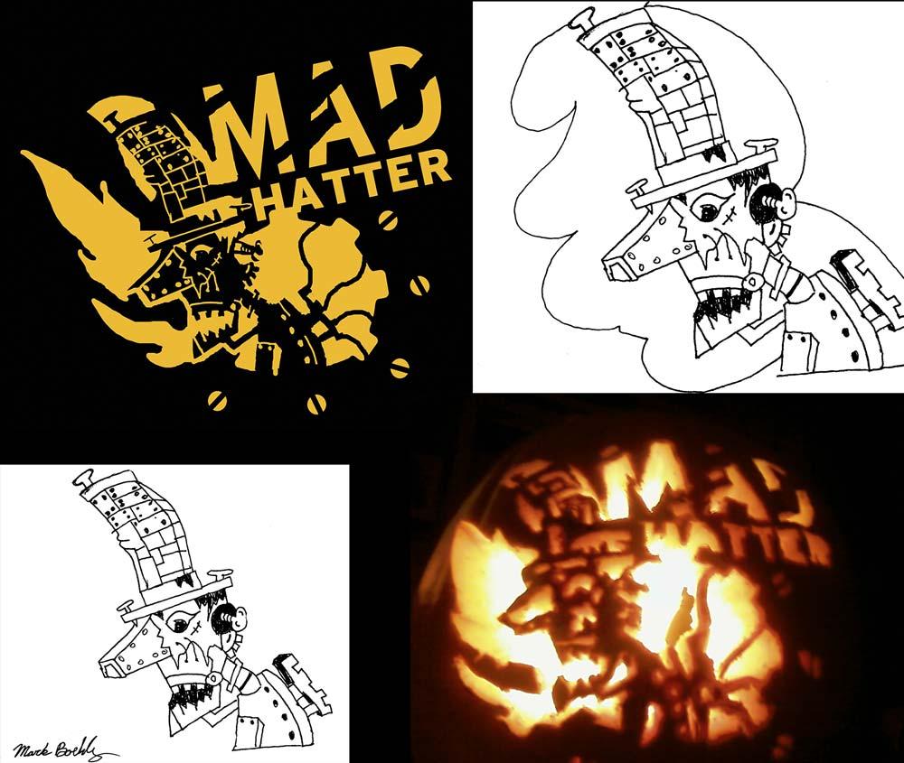 Mad Hatter Pumpkin Carving - Designer Mark Sheldon Boehly - Graphicsbyte Creative