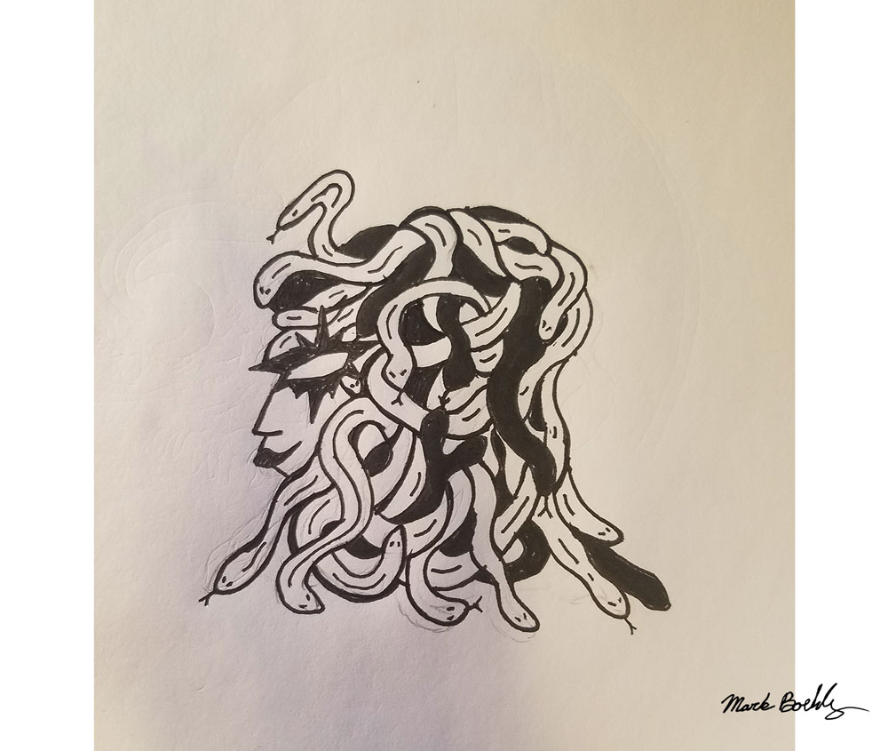 Hair Scare Routine - Sketch by Mark Sheldon Boehly - Graphicsbyte Creative