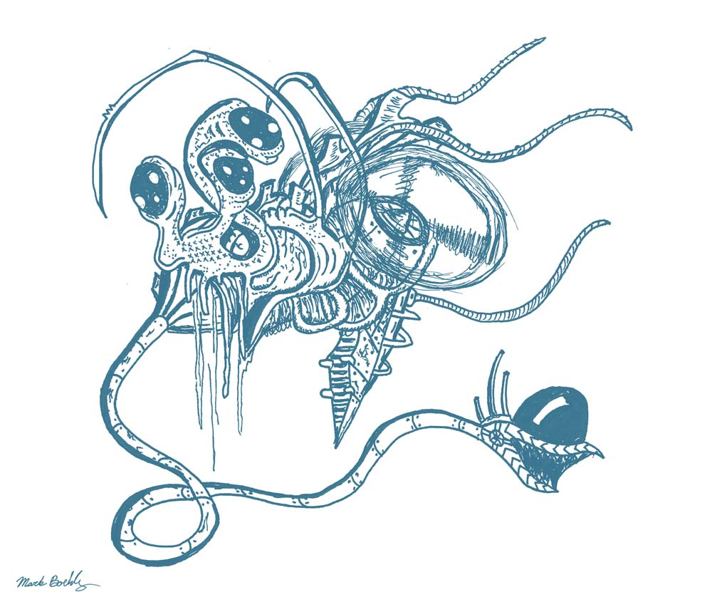 Slug Copter Alien Ship - Psychedelic Sci-Fi - Illustrated by Mark Sheldon Boehly - Graphicsbyte Creative
