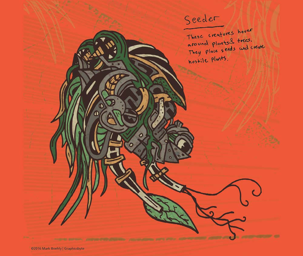 Seeder Parasite - Psychedelic Sci-Fi - Illustrated by Mark Sheldon Boehly - Graphicsbyte Creative