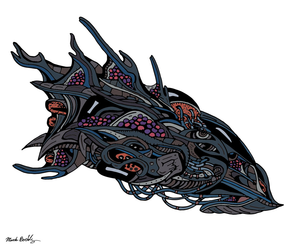 Egg Transport Ship - Psychedelic Sci-Fi - Illustrated by Mark Sheldon Boehly - Graphicsbyte Creative