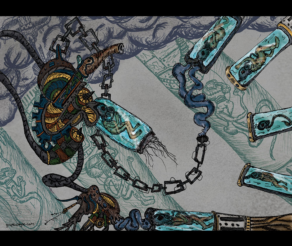 Mothership Parasite - Psychedelic Sci-Fi - Illustrated by Mark Sheldon Boehly - Graphicsbyte Creative