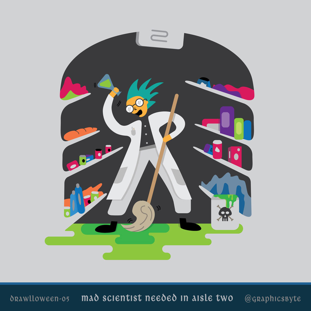 Mad scientist needed in aisle two - Illustration by Mark Sheldon Boehly - Graphicsbyte Creative