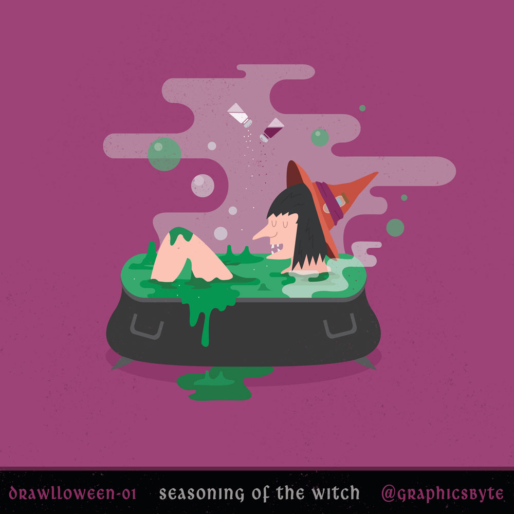 Seasoning of the witch - Illustration by Mark Sheldon Boehly - Graphicsbyte Creative