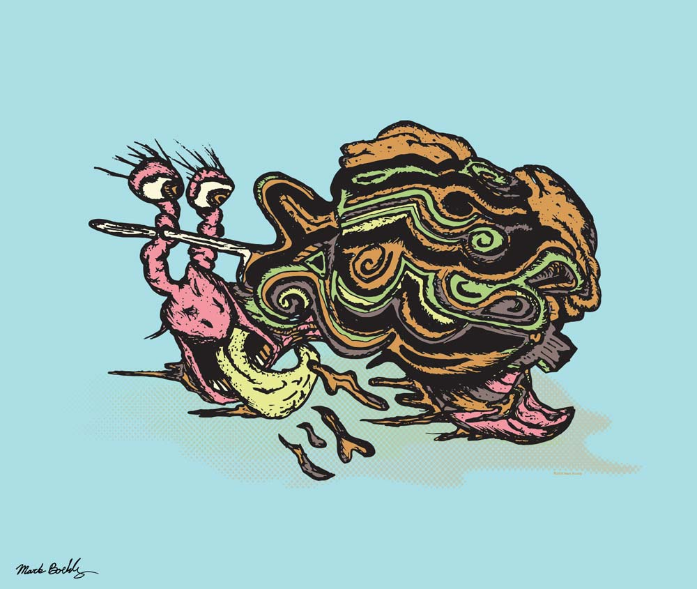 Snail Bites a Carmel apple sucker - Illustration by Mark Sheldon Boehly - Graphicsbyte Creative