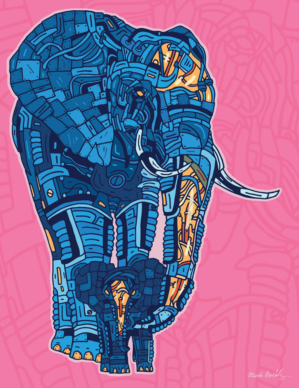Tranquility Metal Elephant - Creature Collection - Illustrated by Mark Sheldon Boehly - Graphicsbyte Creative