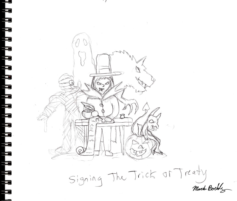 Signing the trick or treaty - Sketch by Mark Sheldon Boehly - Graphicsbyte Creative
