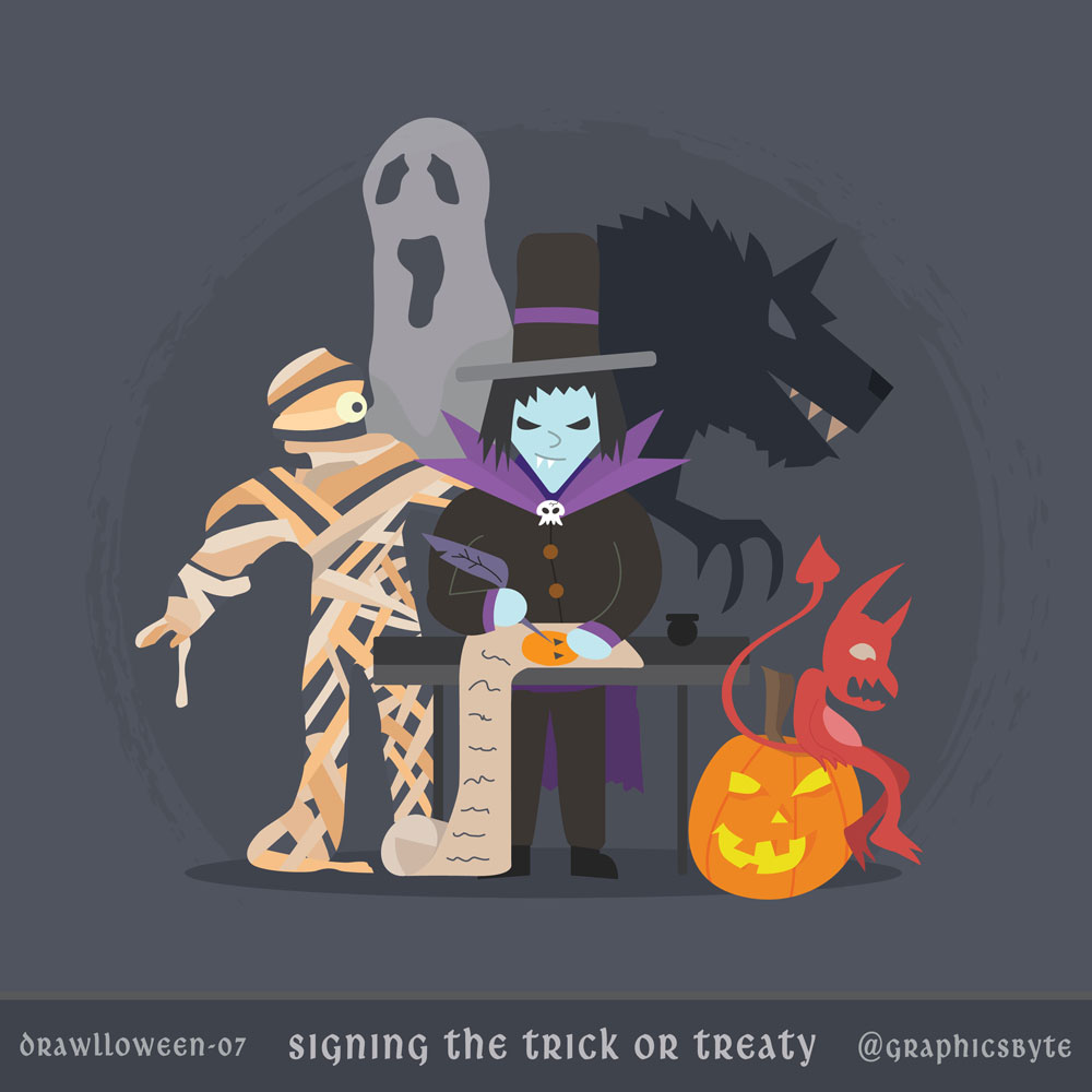 Signing the trick or treaty - Illustration by Mark Sheldon Boehly - Graphicsbyte Creative