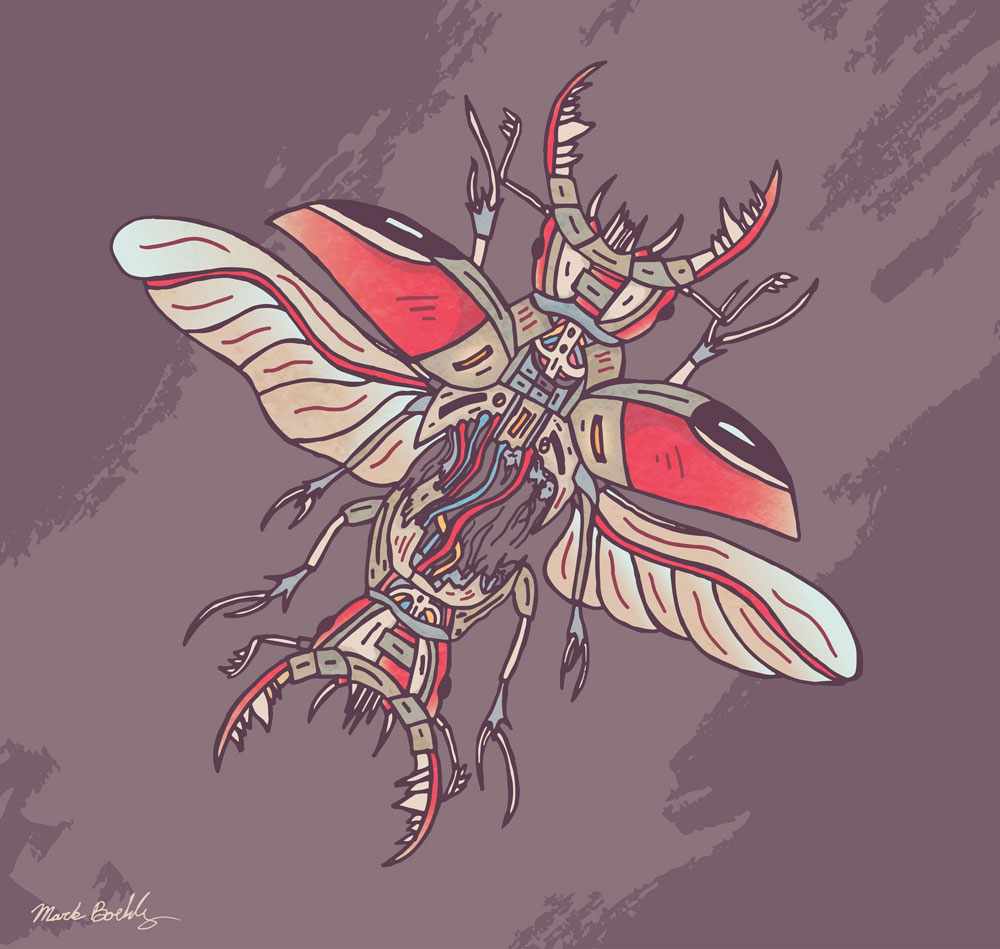 Two Headed Beetle - Creature Collection - Illustrated by Mark Sheldon Boehly - Graphicsbyte Creative