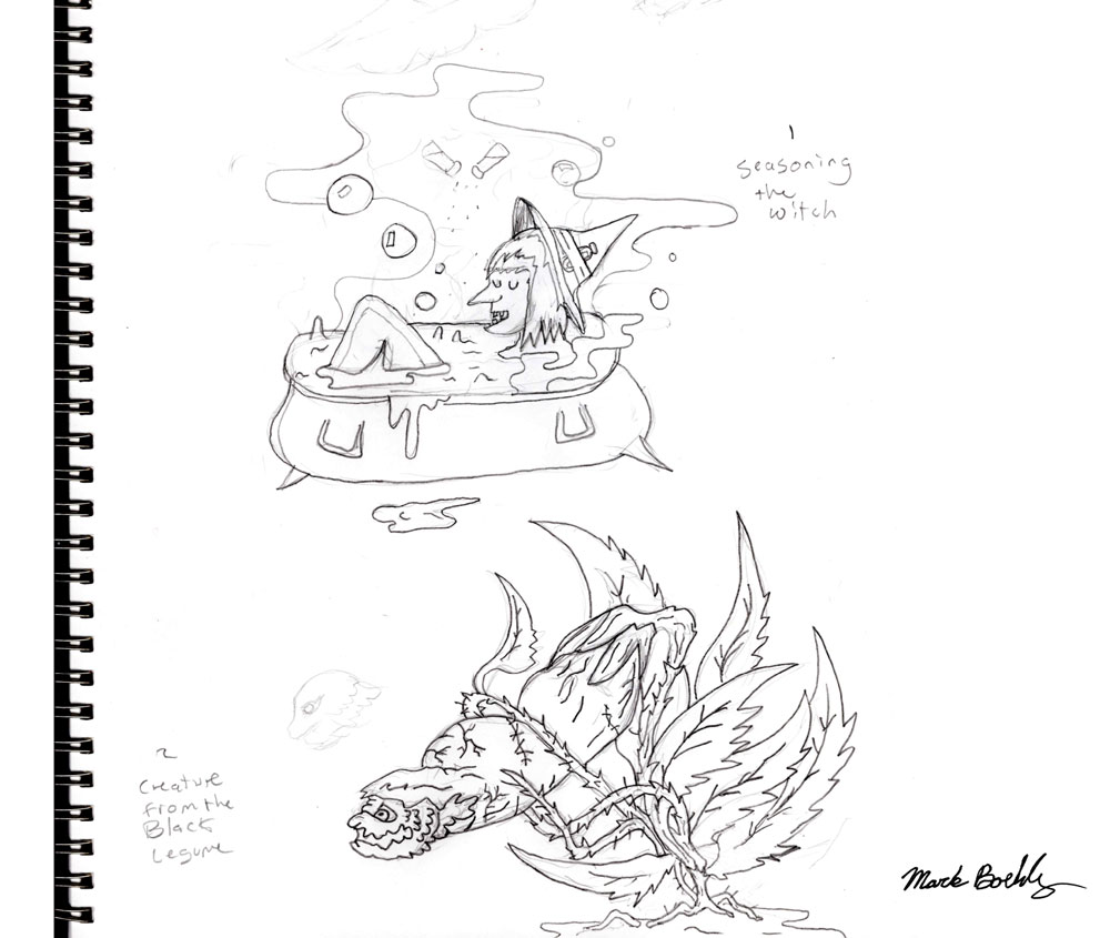 Seasoning of the with and creature from the black legume - sketch by Mark Sheldon Boehly - Graphicsbyte Creative