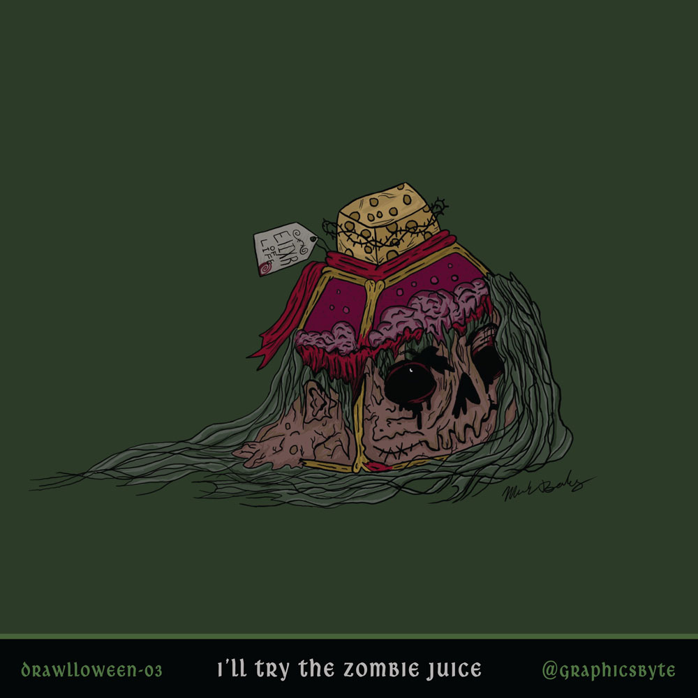 I'll try the zombie juice - Illustration by Mark Sheldon Boehly - Graphicsbyte Creative