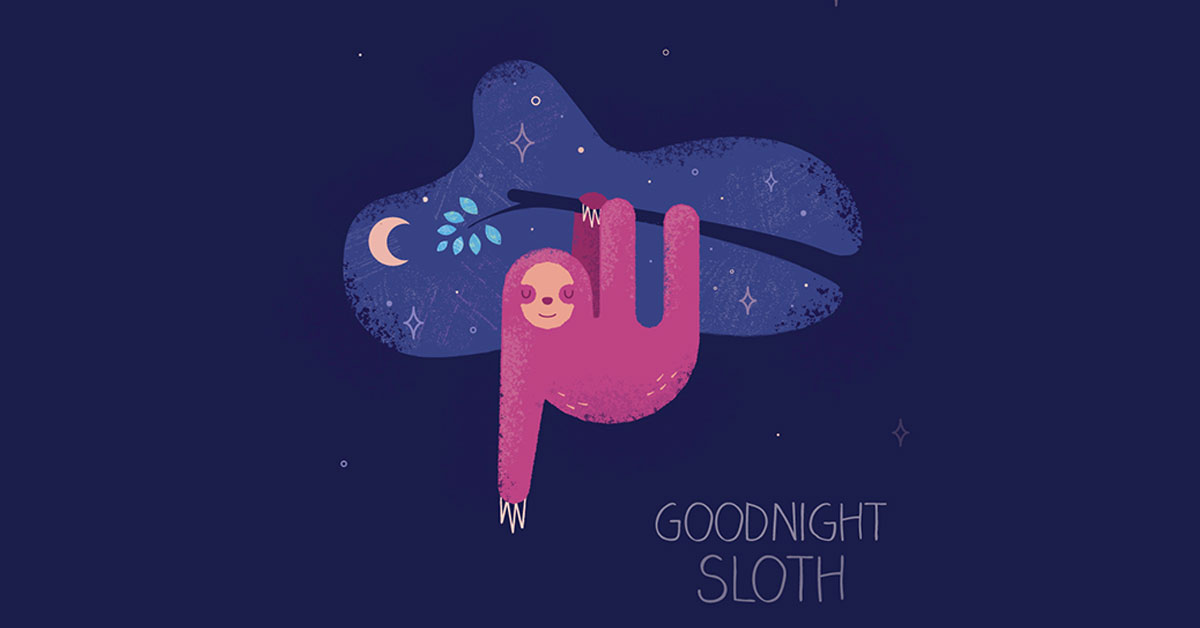 Goodnight Sloth - A children's book illustration by Mark Sheldon Boehly - Graphicsbyte Creative