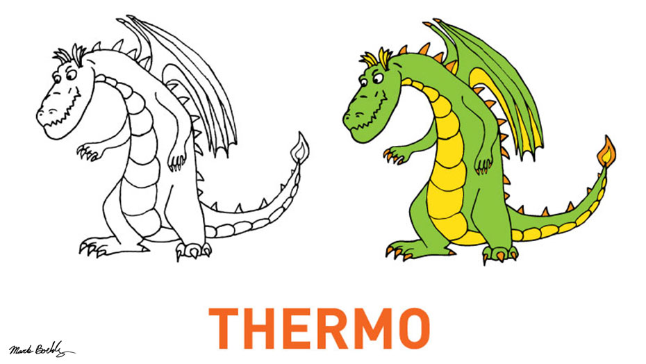 Thermo character developed by Mark Sheldon Boehly - Graphicsbyte Creative