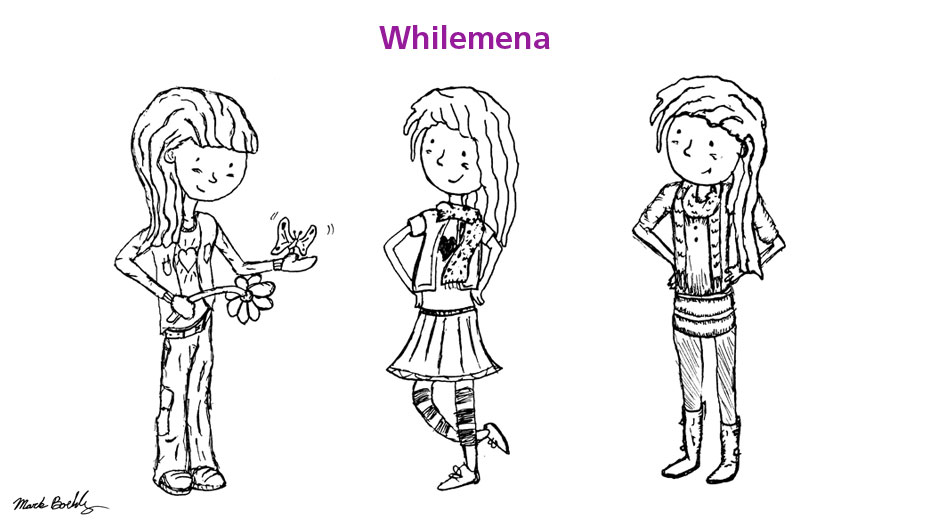Whilemena character developed by Mark Sheldon Boehly - Graphicsbyte Creative